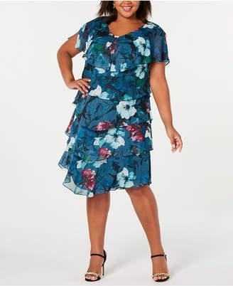 SL Fashions Plus Size Metallic Floral Tiered Dress