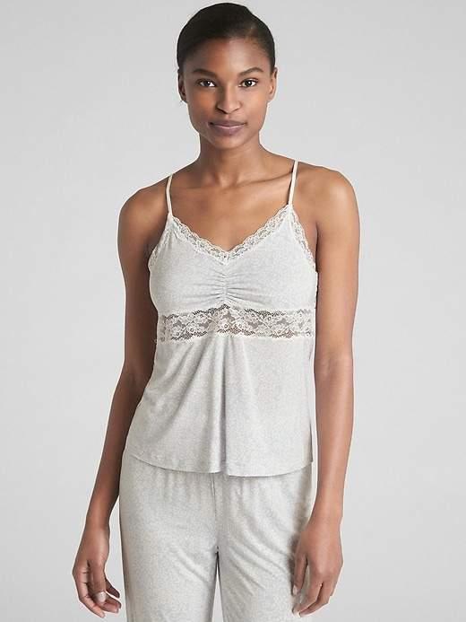 Print Lace-Trim Cami in Modal