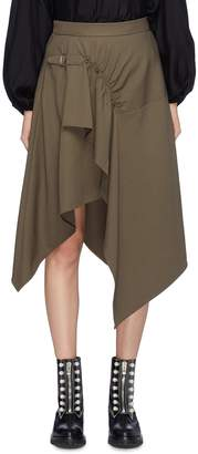 3.1 Phillip Lim Buckled ruched drape wool gabardine handkerchief skirt
