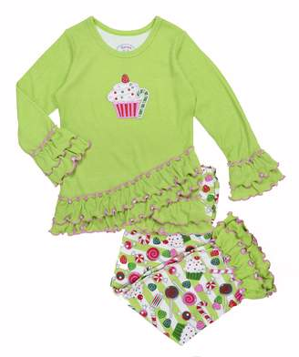 Sara's Prints Girls' Cupcake & Sweet Treats Ruffled Pajama Set, Kids