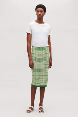 Cos CHECKED JACQUARD KNIT SKIRT