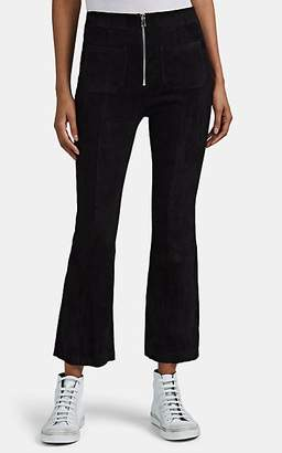 Sprwmn Women's Suede Crop Flare Pants - Black