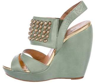 Andrea Gomez Studded Leather Wedges