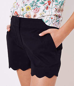 LOFT Petite Scalloped Shorts with 3 1/2 Inch Inseam