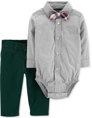 Carter's Baby Boys Striped Cotton Bodysuit, Pants & Bowtie Set