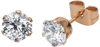 JCPenney FINE JEWELRY Cubic Zirconia 8mm Stainless Steel and Rose-Tone IP Stud Earrings