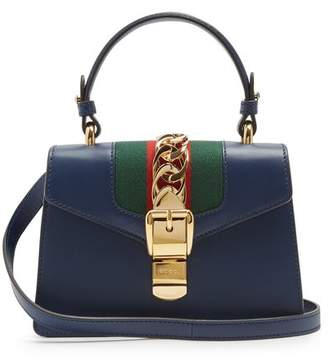 Gucci Sylvie Mini Leather Shoulder Bag - Womens - Dark Blue