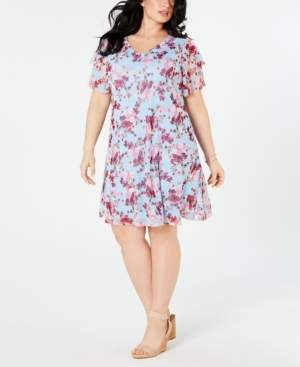 NY Collection Plus Size Printed Ruffled-Sleeve Dress