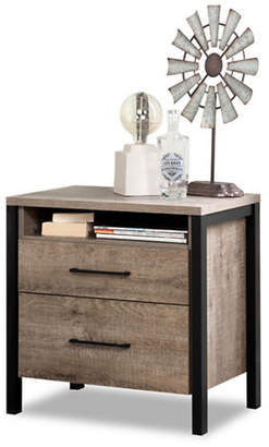 Munich SOUTH SHORE Two-Drawer Nightstand - Weathered Oak and Matte Black