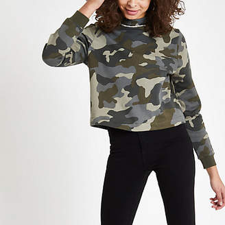 River Island Womens Khaki camo print diamante trim sweatshirt