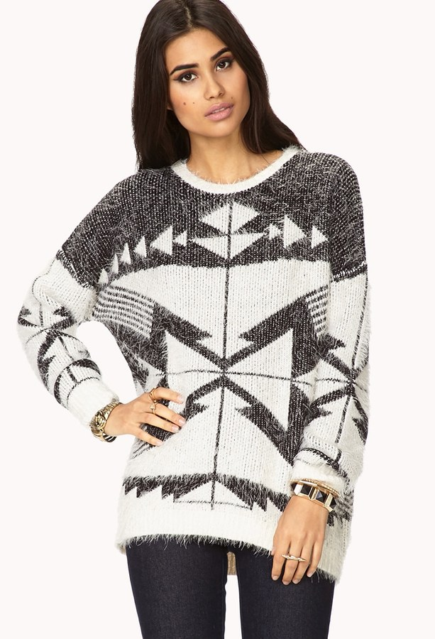 Forever 21 Worldly Eyelash Knit Sweater