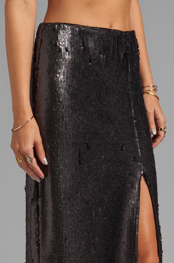 Blaque Label Sequins High Slit Maxi Skirt