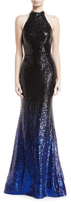Jovani High-Neck Ombre Sequin Trumpet Gown
