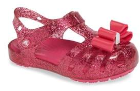 Crocs TM) Isabella Bow Glitter Fisherman Sandal
