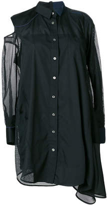 Sacai mesh-panelled shirt dress