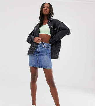Asos Tall DESIGN Tall denim original high waisted skirt in stonewash blue