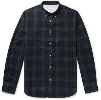 Officine Generale Button-Down Collar Black Watch Checked Cotton-Flannel Shirt