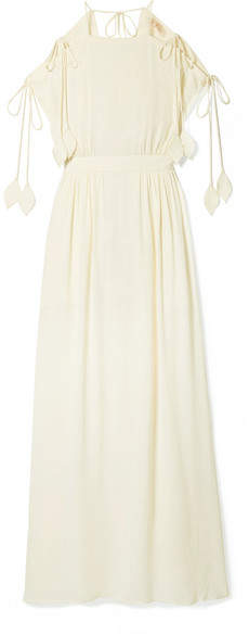 Tory Burch - Evaline Cold-shoulder Georgette Maxi Dress - Off-white