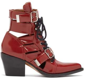Chloé Rylee Leather Ankle Boots - Womens - Red