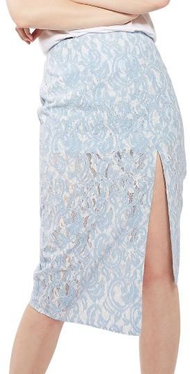 TopshopWomen's Topshop Bonded Lace Midi Skirt