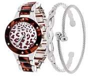 Fortune NYC Arm Candy Via Nova Ladies Fashion Silver and Cheetah Dial Watch with Set of 2 Bracelets