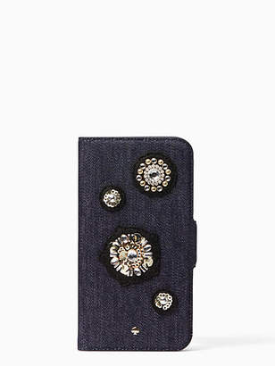 Kate Spade Denim embellished folio iPhone x case