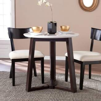 Southern Enterprises Kyro Round Modern Dining Table, 2-Tone Espresso and White