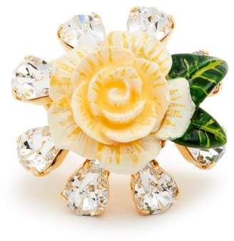 Dolce & Gabbana Crystal Embellished Floral Ring - Womens - White