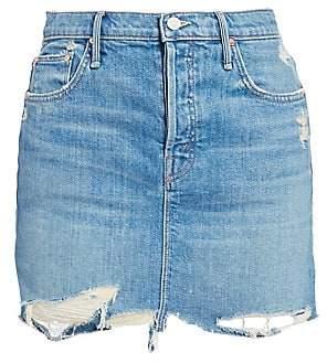 Mother Women's Vagabond Mini Fray Hem Denim Skirt