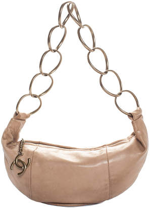 Chanel Beige Calfskin Small Chain Shoulder Bag