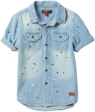 7 For All Mankind Splatter Denim Shirt (Little Boys)