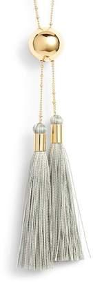 Gorjana Carmen 18K Yellow Gold Plated Double Tassel Drop Lariat Necklace