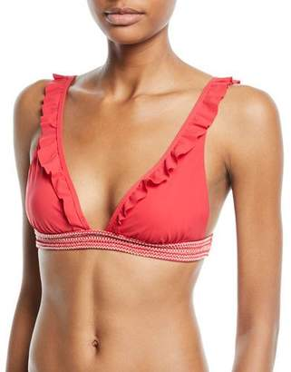 Kisuii Noya Deep-V Ruffled Triangle Bikini Top
