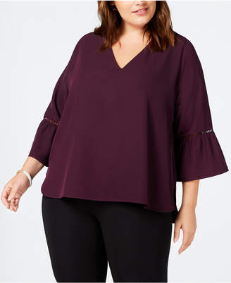 Calvin Klein Plus Size Bell-Sleeve Blouse