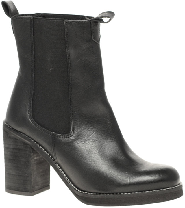 ASOS ABBOT Leather Chelsea Ankle Boots With Block Heel