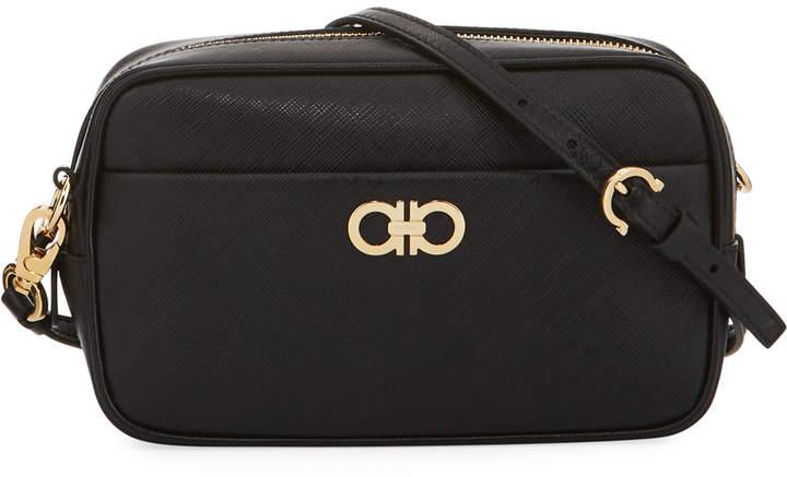 Salvatore Ferragamo Zip-Around Saffiano Leather Handbag, Black