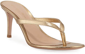 Gianvito Rossi Metallic Leather Mid-Heel Thong Sandals