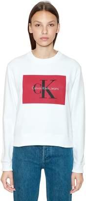 Calvin Klein Jeans Cropped Logo Printed Cotton Sweatshirt