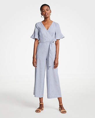 Ann Taylor Fluted Sleeve Linen Blend Jumpsuit