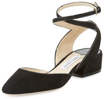Jimmy ChooJimmy Choo Vicky Suede Ankle-Wrap Ballerina Flat, Black