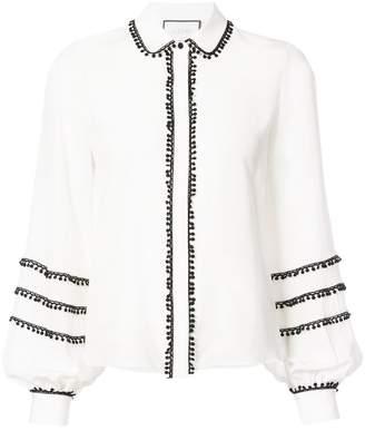 Alexis contrast trim long-sleeve blouse