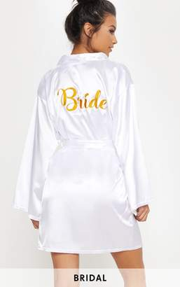 PrettyLittleThing White Bride Embroidered Back Satin Robe