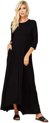 Annabelle Women's 3/4 Sleeve Casual Loose Fit Maxi Dresses with Side Pockets D5212