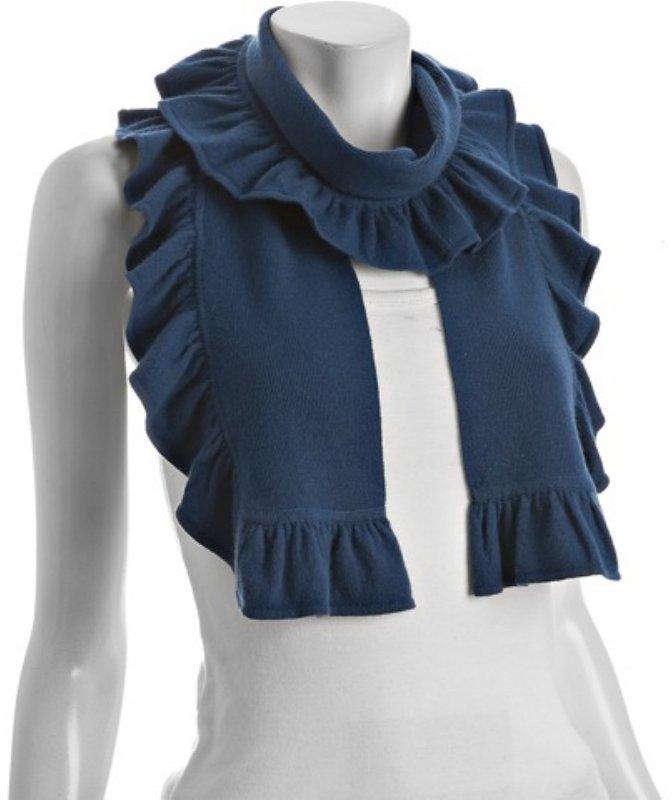 Magaschoni mystic blue cashmere ruffle trim scarf