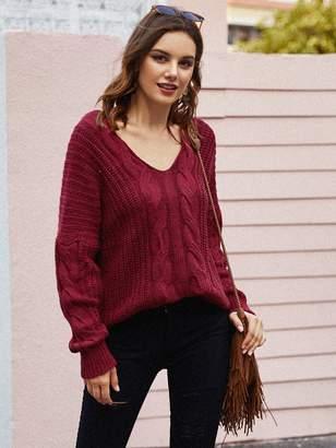 Shein Cable Knit Drop Shoulder V Neck Sweater