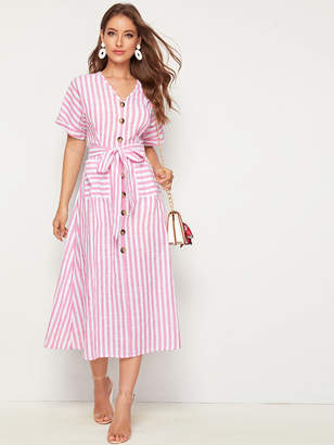 Shein Single Breasted Pocket Patched Self Belted Striped Dress