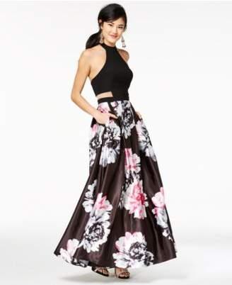 Blondie Nites Juniors' Printed-Skirt Illusion Halter Gown