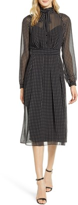 Anne Klein Bolshoi Dot Long Sleeve Shirtdress