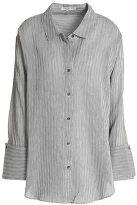 Halston Pinstriped Linen Cotton And Silk-Blend Shirt