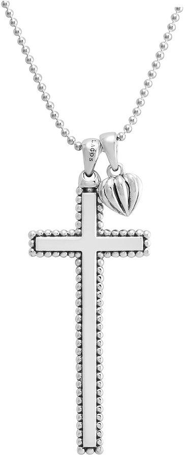 Lagos Caviar-Trim Cross & Heart Pendant Necklace